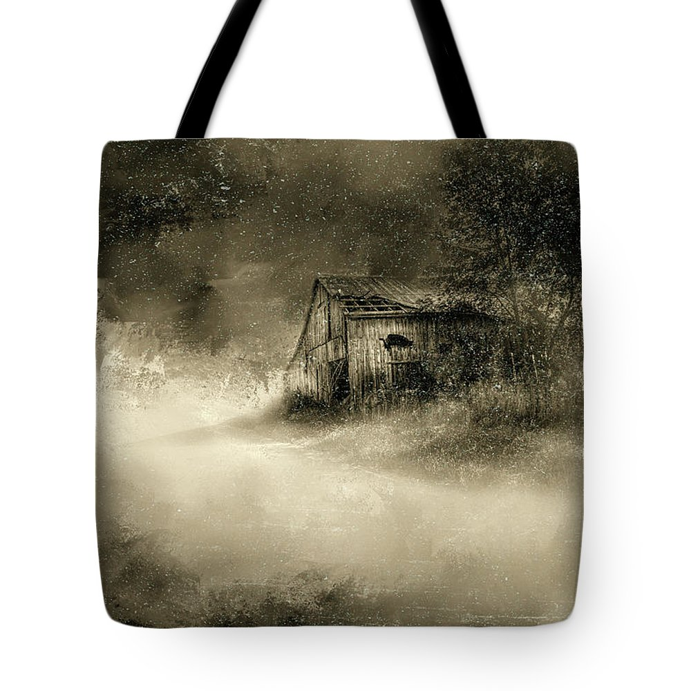 Barns Tote Bag featuring the digital art The First Snow by Marvin Spates