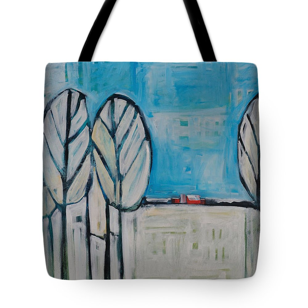 Snow Tote Bag featuring the painting The First Snow by Tim Nyberg
