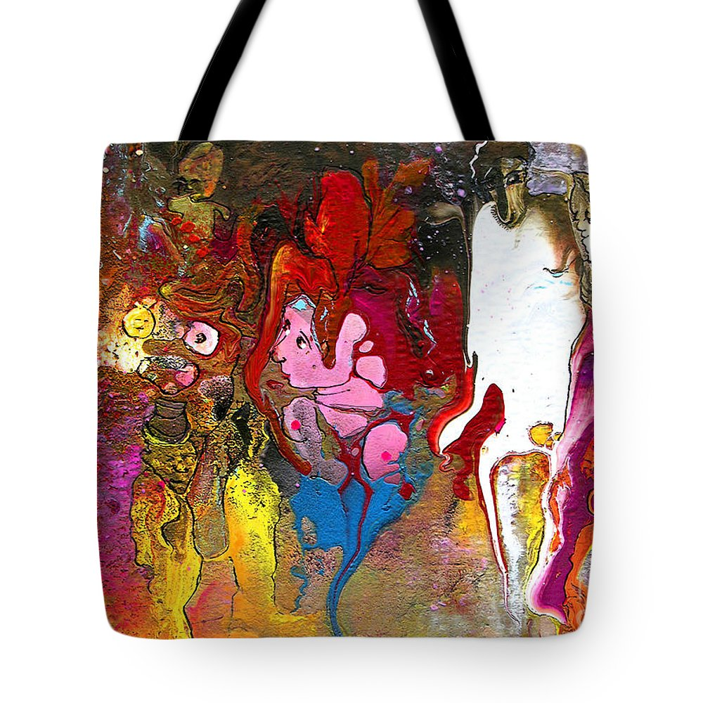 Miki Tote Bag featuring the painting The First Wedding by Miki De Goodaboom