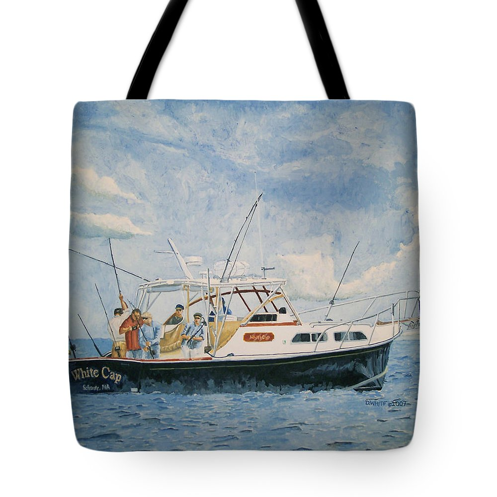 Fishing Tote Bag featuring the painting The Fishing Charter - Cape Cod Bay by Dominic White