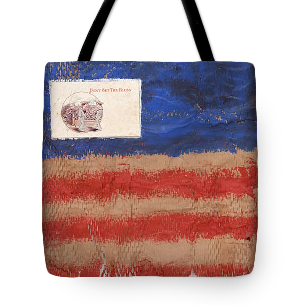 Flag Tote Bag featuring the mixed media The Flag by Jaime Becker