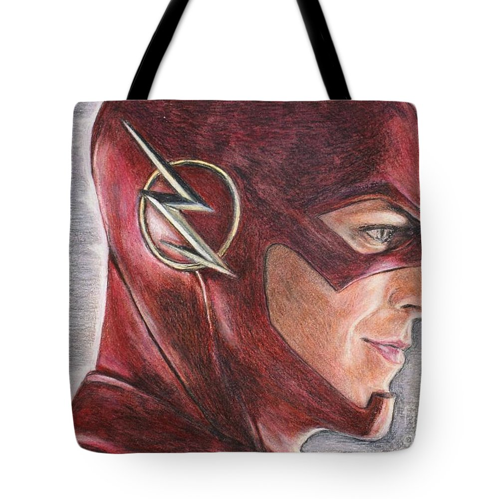 The Flash Tote Bag featuring the drawing The Flash / Grant Gustin by Christine Jepsen