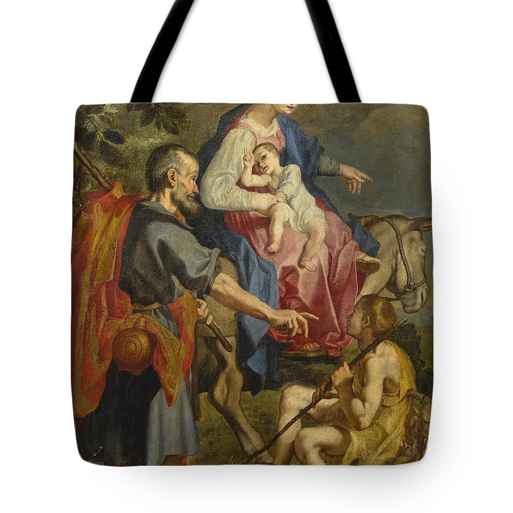 Attributed To Ventura Salimbeni Tote Bag featuring the painting The Flight Into Egypt by Attributed to Ventura Salimbeni