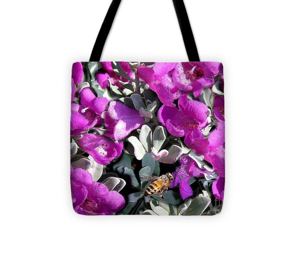 Nature Tote Bag featuring the photograph The Flight Of The Bumble Bee by Lucyna A M Green
