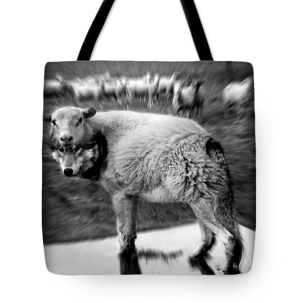 Flock Of Sheep Tote Bag featuring the digital art The Flock Is Safe Grayscale by Marian Voicu