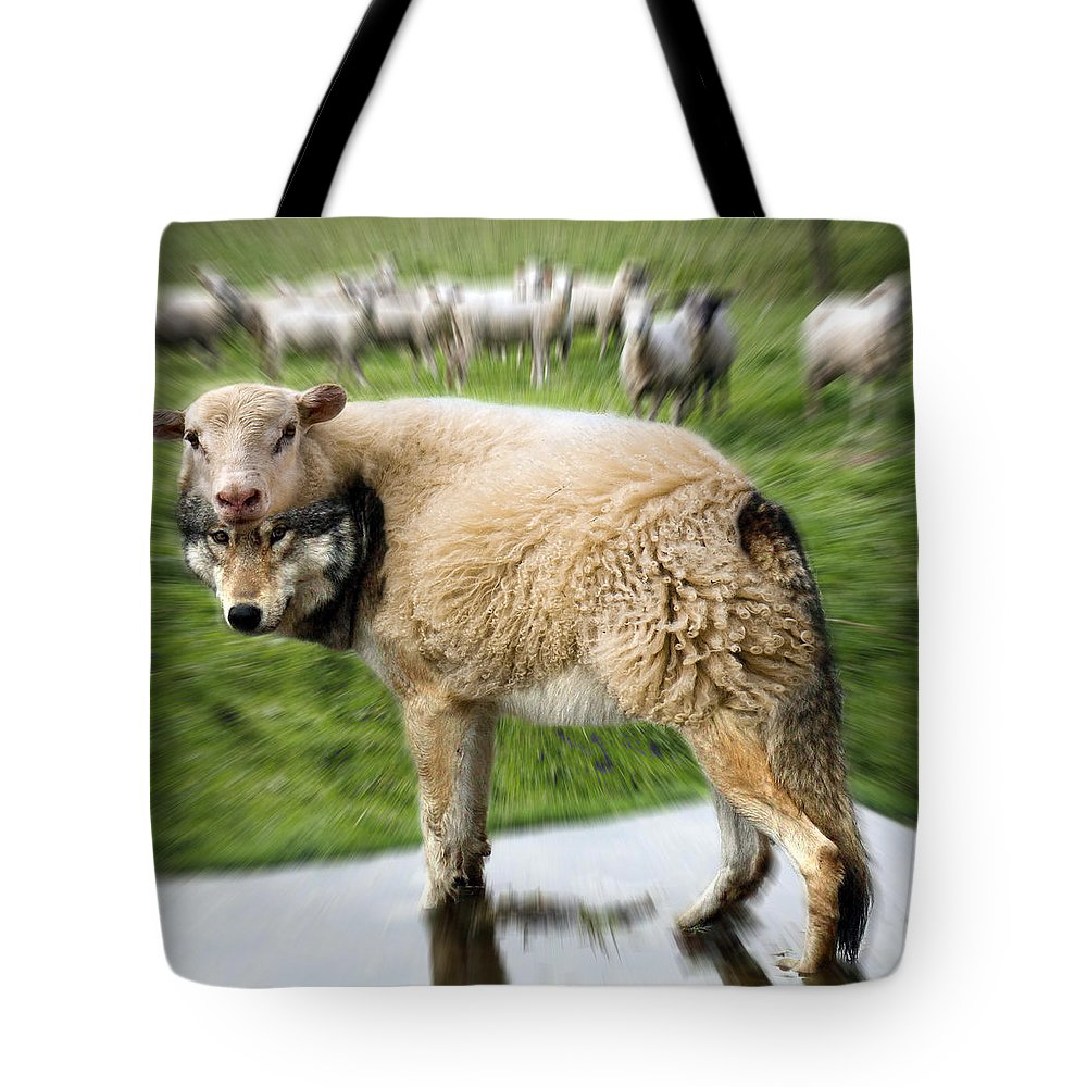 Flock Of Sheep Tote Bag featuring the digital art The Flock Is Safe by Marian Voicu