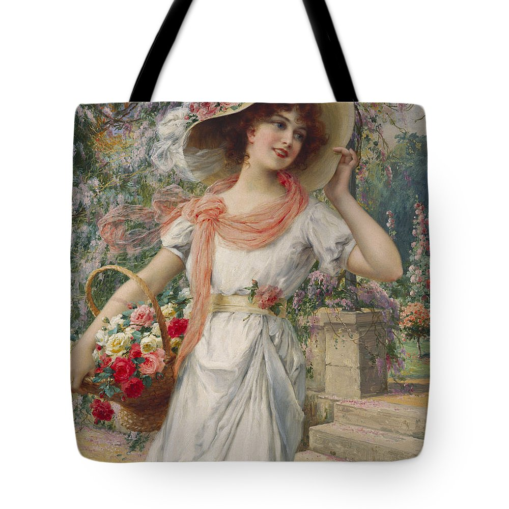 The Flower Girl (oil On Canvas) By Emile Vernon (1872-1919) Flower; Girl; Female; Three-quarter Length; Standing; Bonnet; Hat; Flowers; Selling; Vendor; Basket; Smiling; Carefree; Pretty Tote Bag featuring the painting The Flower Girl by Emile Vernon