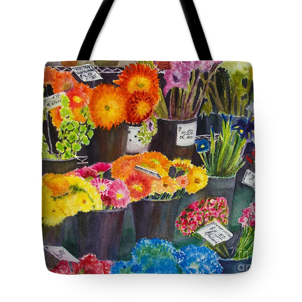 Flowers Tote Bag featuring the painting The Flower Market by Karen Fleschler