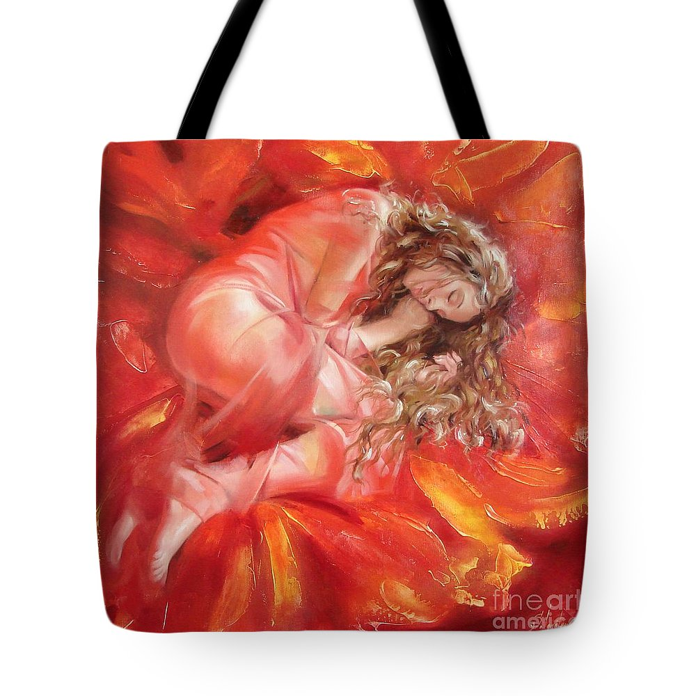 Oil Tote Bag featuring the painting The Flower Paradise by Sergey Ignatenko