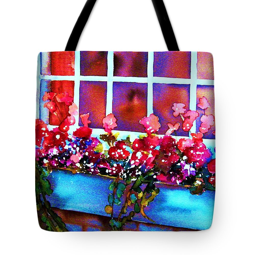 Flowerbox Tote Bag featuring the painting The Flowerbox by Carole Spandau