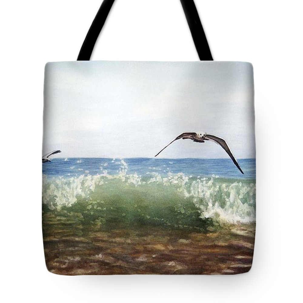 Painting Tote Bag featuring the painting The Flying Instant Of Surf by Sergii Grygoriev