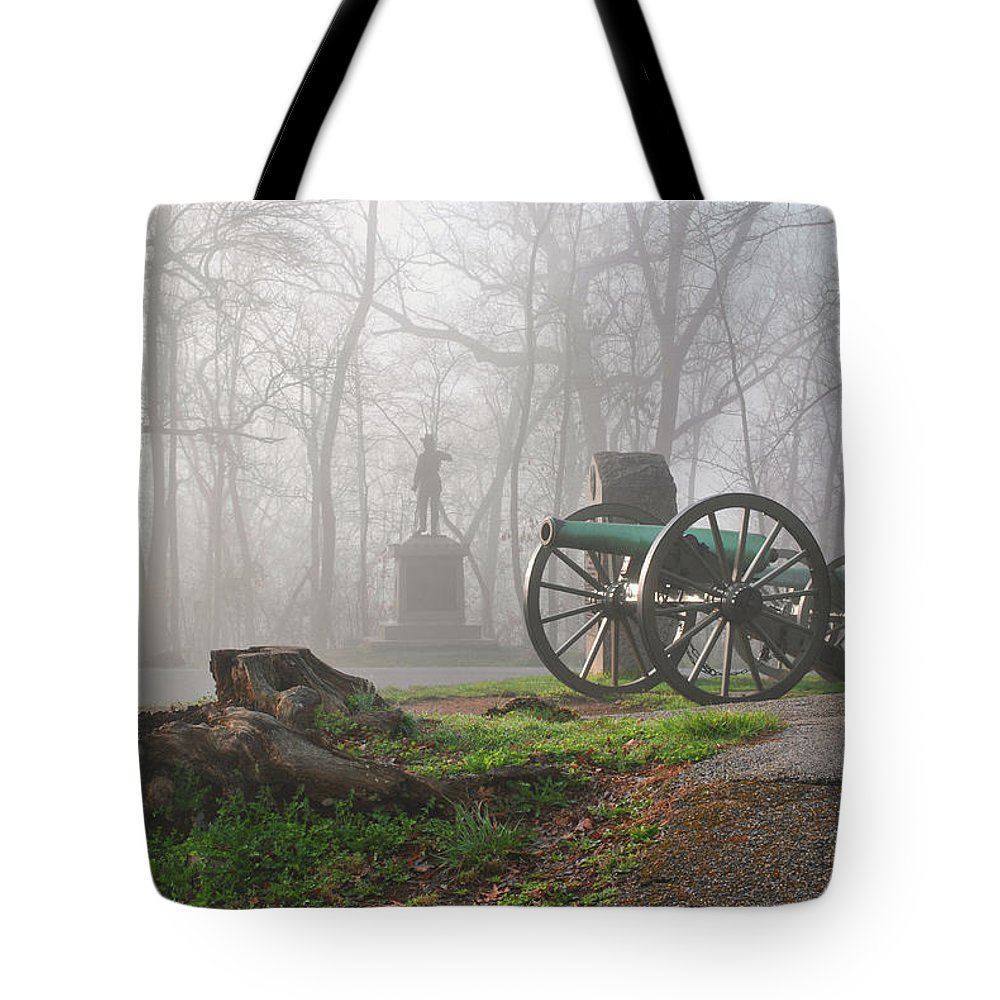 Civil War Tote Bag featuring the photograph The Fog Of War. by Jen Goellnitz