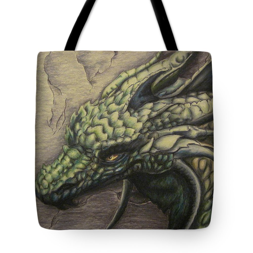 Dragon Tote Bag featuring the drawing The Forest Dragon by Ashley Warbritton
