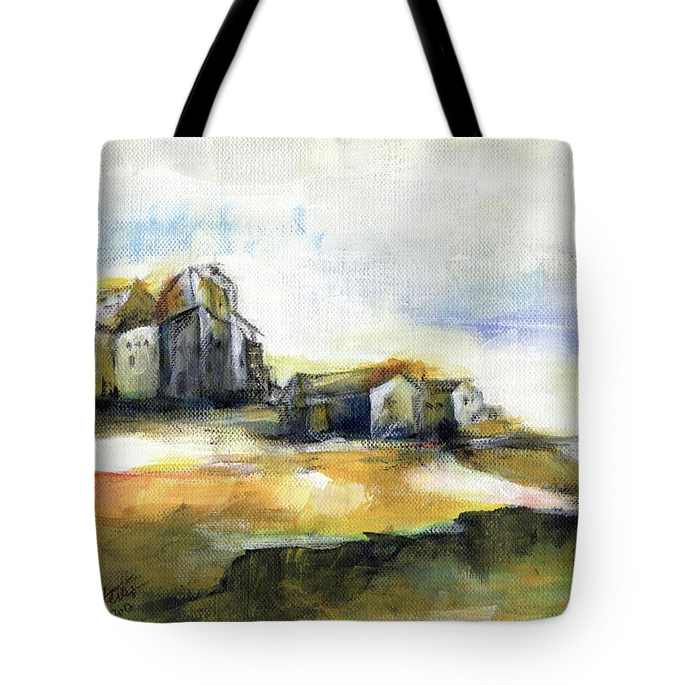 Abstract Landscape Tote Bag featuring the painting The Fortress by Aniko Hencz