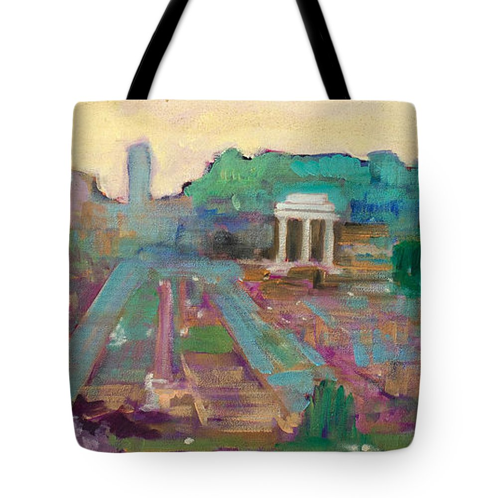 Rome Tote Bag featuring the painting The Forum Romanum by Kurt Hausmann