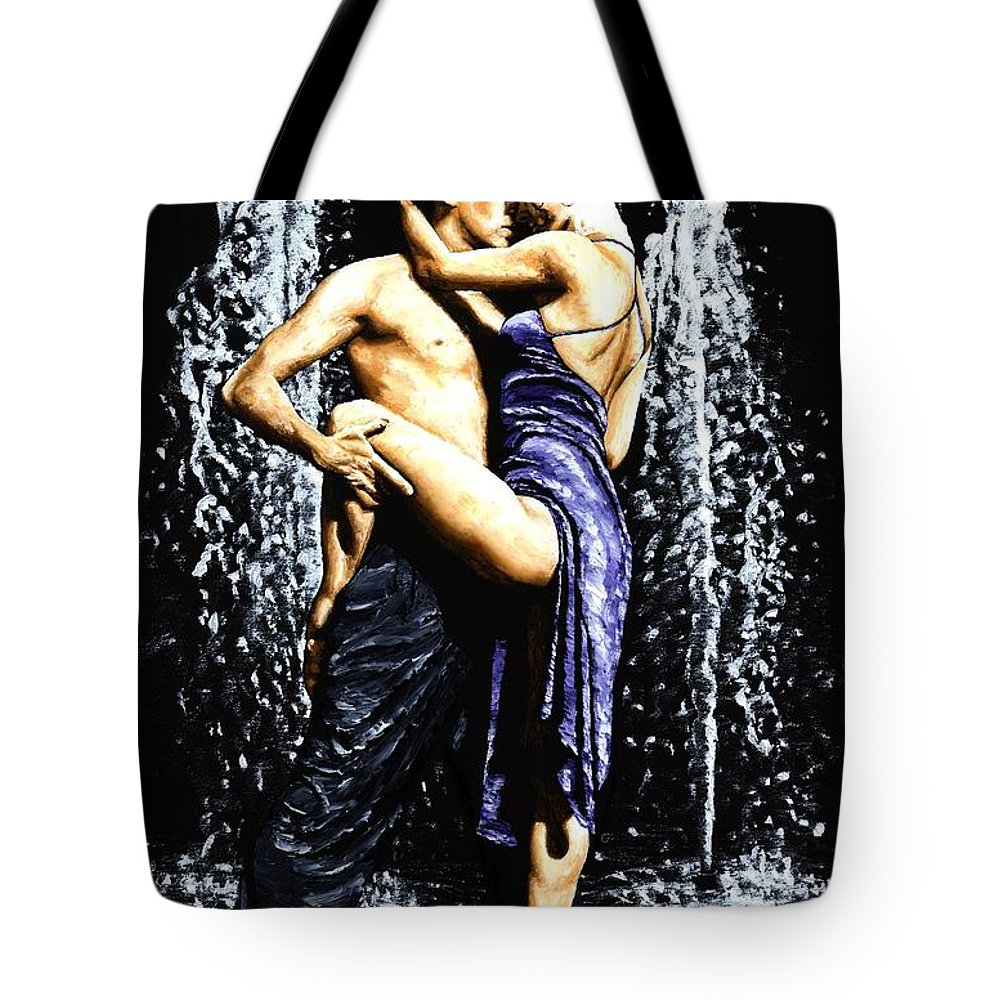 Tango Tote Bag featuring the painting The Fountain Of Tango by Richard Young