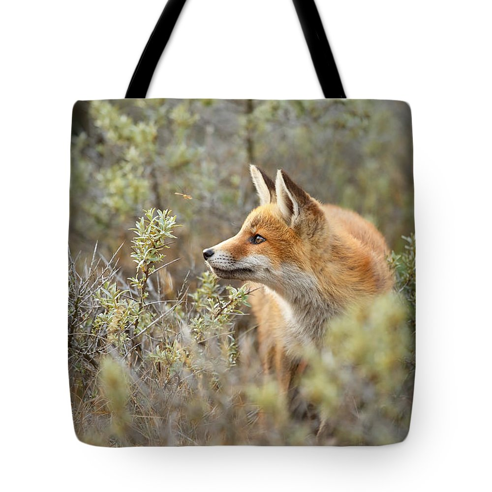 Red Fox Tote Bag featuring the photograph The Fox And Its Prey by Roeselien Raimond