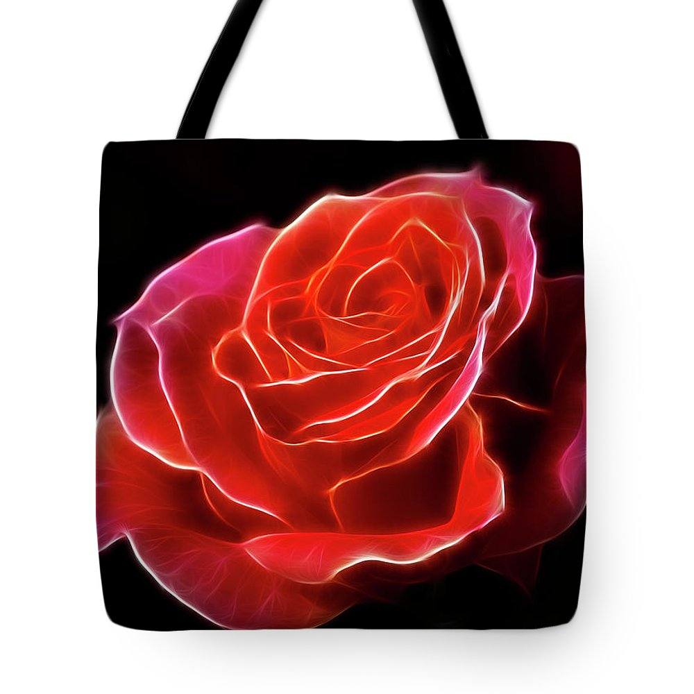 Rose Tote Bag featuring the photograph The Fractalius Rose by Deborah Benoit