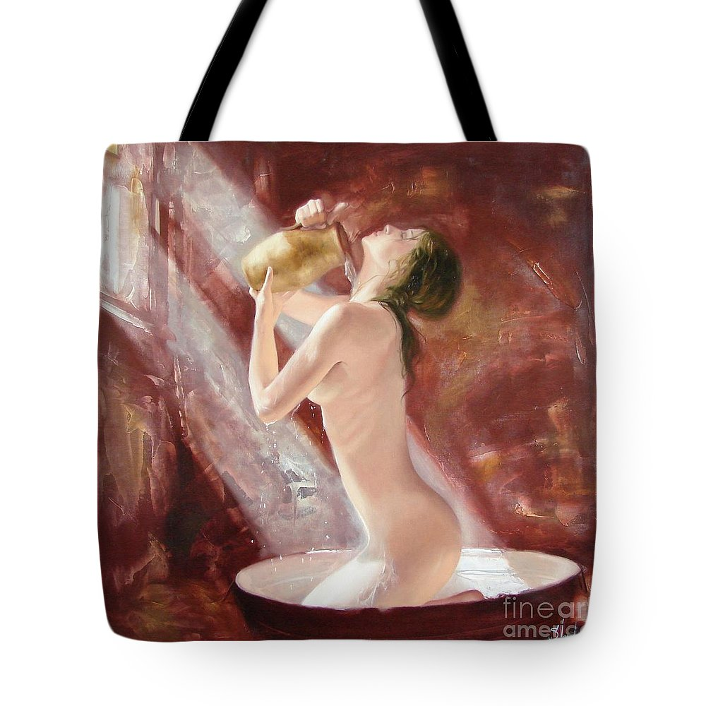 Oil Tote Bag featuring the painting The freshness by Sergey Ignatenko