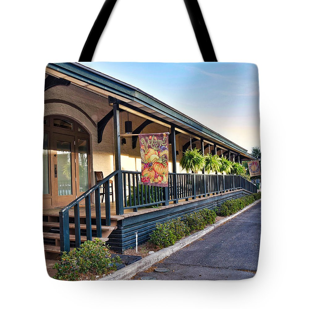 Front Porch Tote Bag featuring the photograph The Front Porch by Linda Brown