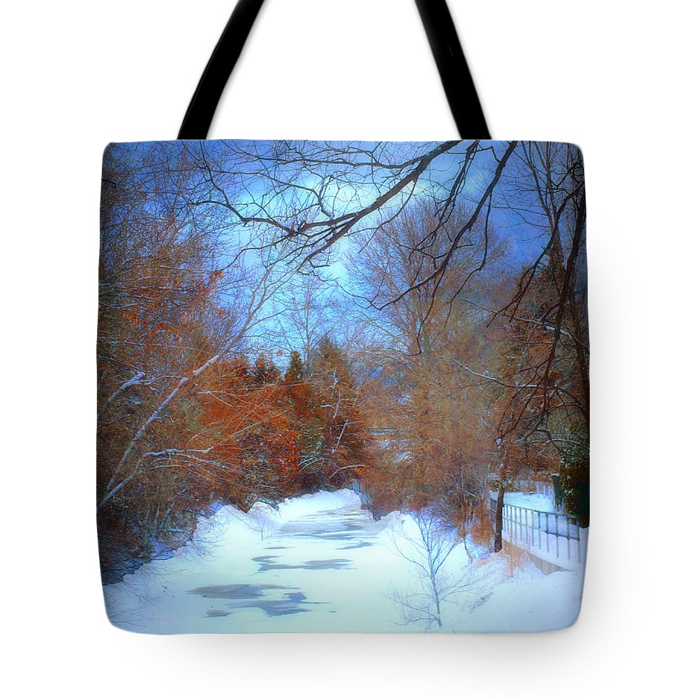 Snow Tote Bag featuring the photograph The Frozen Creek by Tara Turner