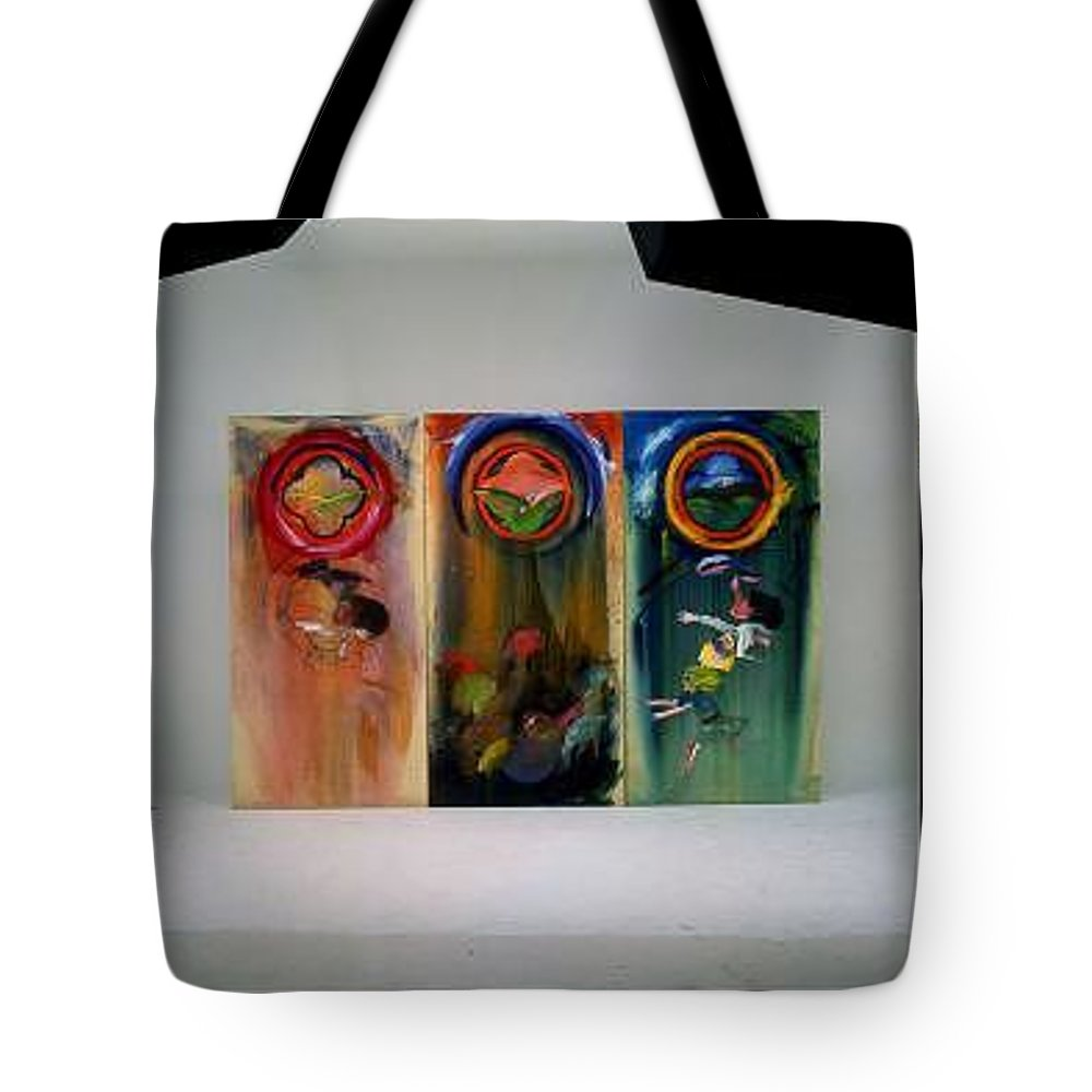 Fall From Grace Tote Bag featuring the painting The Fruit Machine Stops by Charles Stuart