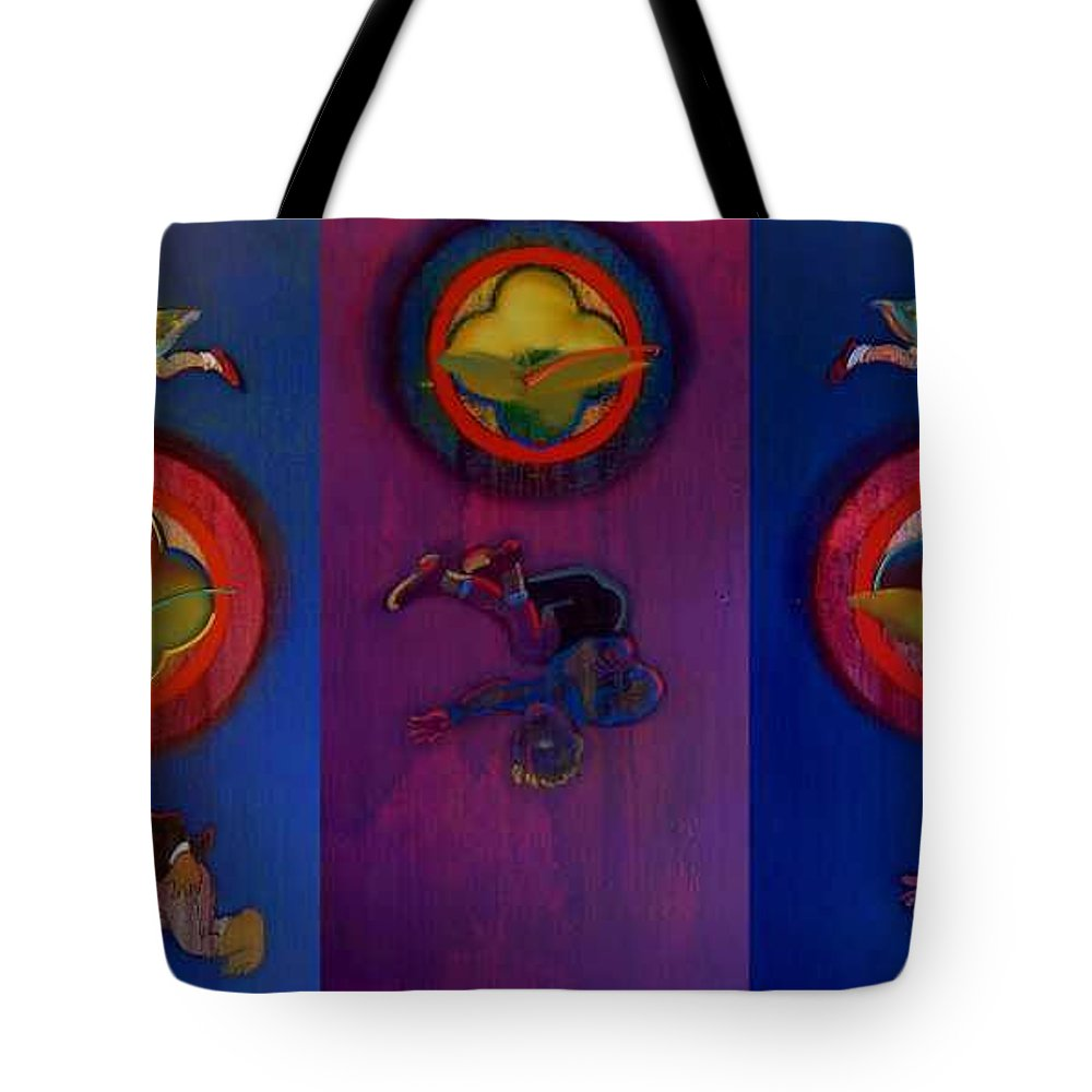 The Drums Of The Fruit Machine Stop At Random. Triptych Tote Bag featuring the painting The Fruit Machine Stops II by Charles Stuart