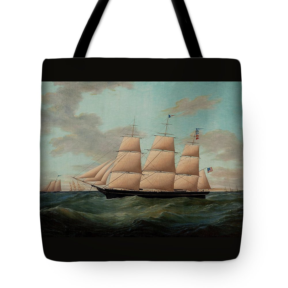James Edward Buttersworth Tote Bag featuring the painting The Fullrigger The American by James Edward Buttersworth