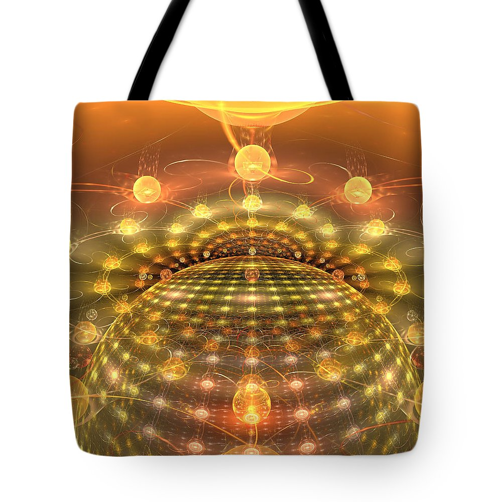 Apophysis Tote Bag featuring the digital art The Galactic Mirror Ball by Richard Ortolano