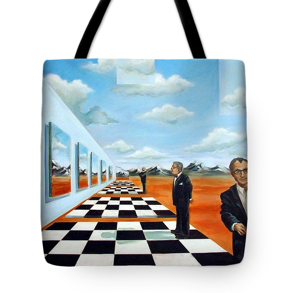 Surreal Tote Bag featuring the painting The Gallery by Valerie Vescovi