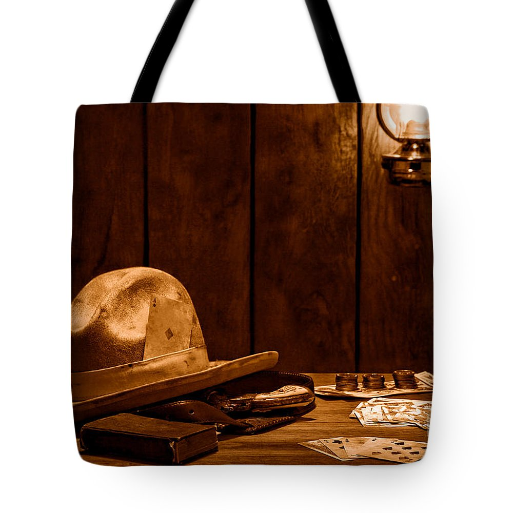 Cowboy Tote Bag featuring the photograph The Gambler Hat - Sepia by Olivier Le Queinec