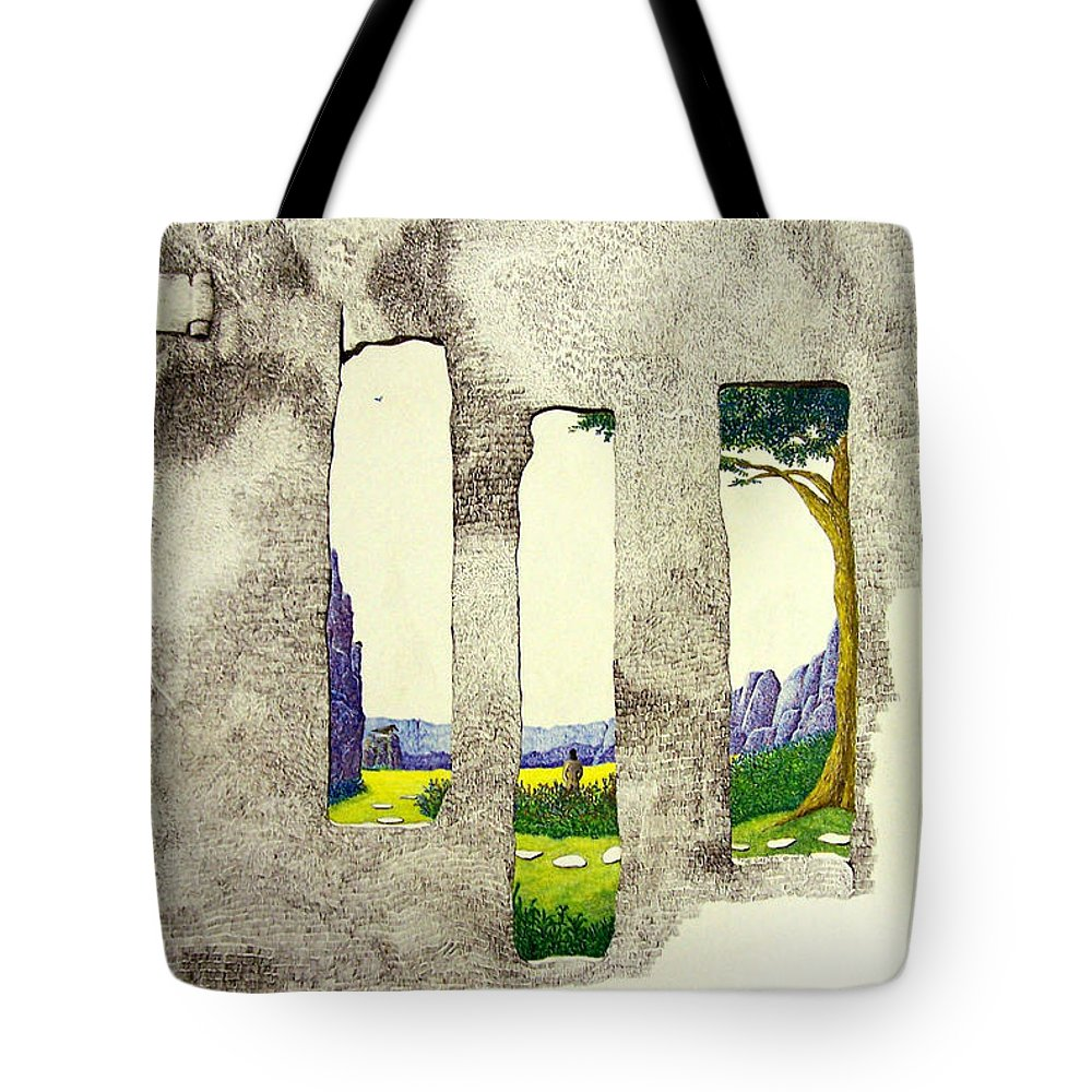 Imaginary Landscape. Tote Bag featuring the painting The Garden by A Robert Malcom