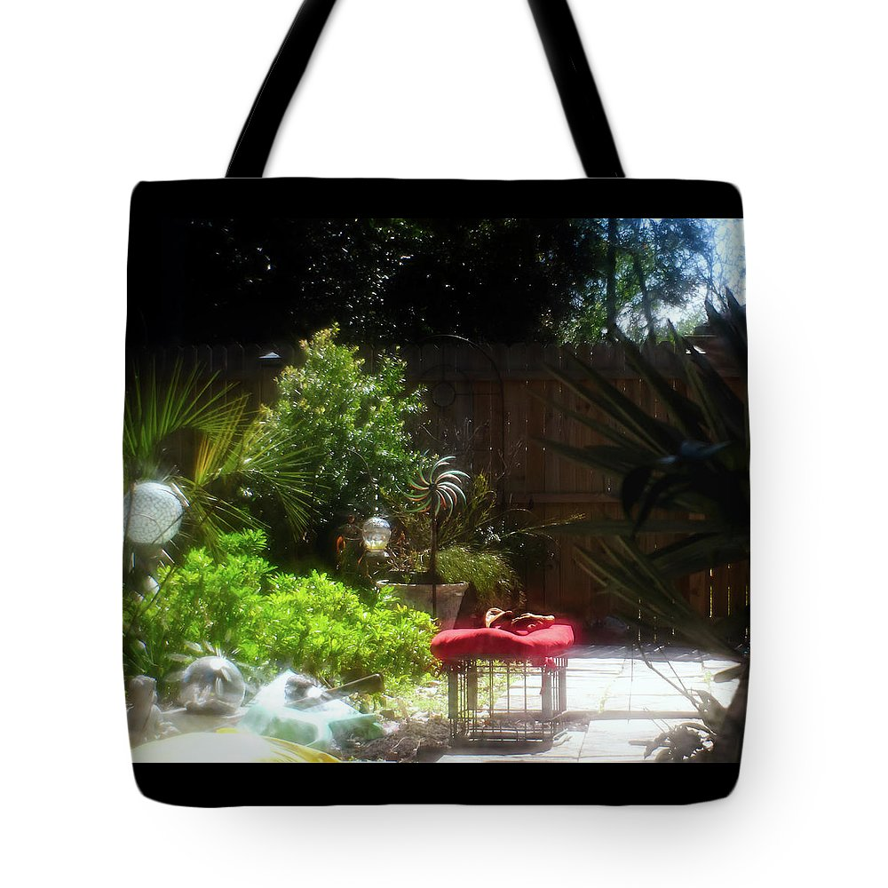Garden Tote Bag featuring the photograph The Garden Bench by Sharon Minish