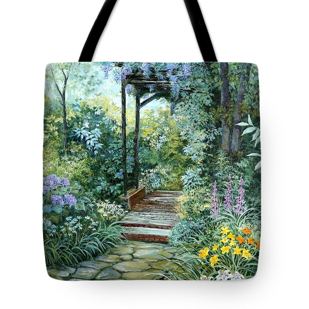 Oil Painting;wisteria;garden Path;lilies;garden;flowers;trellis;trees;stones;pergola;vines; Tote Bag featuring the painting The Garden Triptych Right Side by Lois Mountz