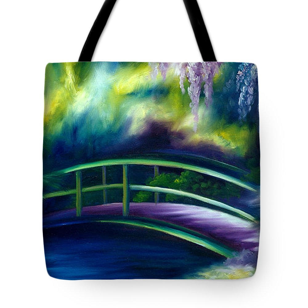 Sunrise Tote Bag featuring the painting The Gardens of Givernia by James Christopher Hill