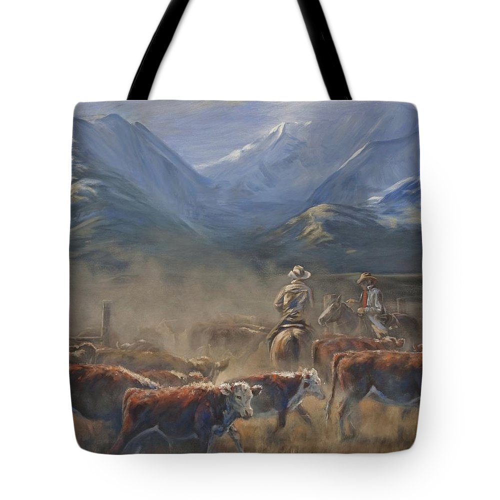 Cowboys Tote Bag featuring the painting The Gate Tally by Mia DeLode