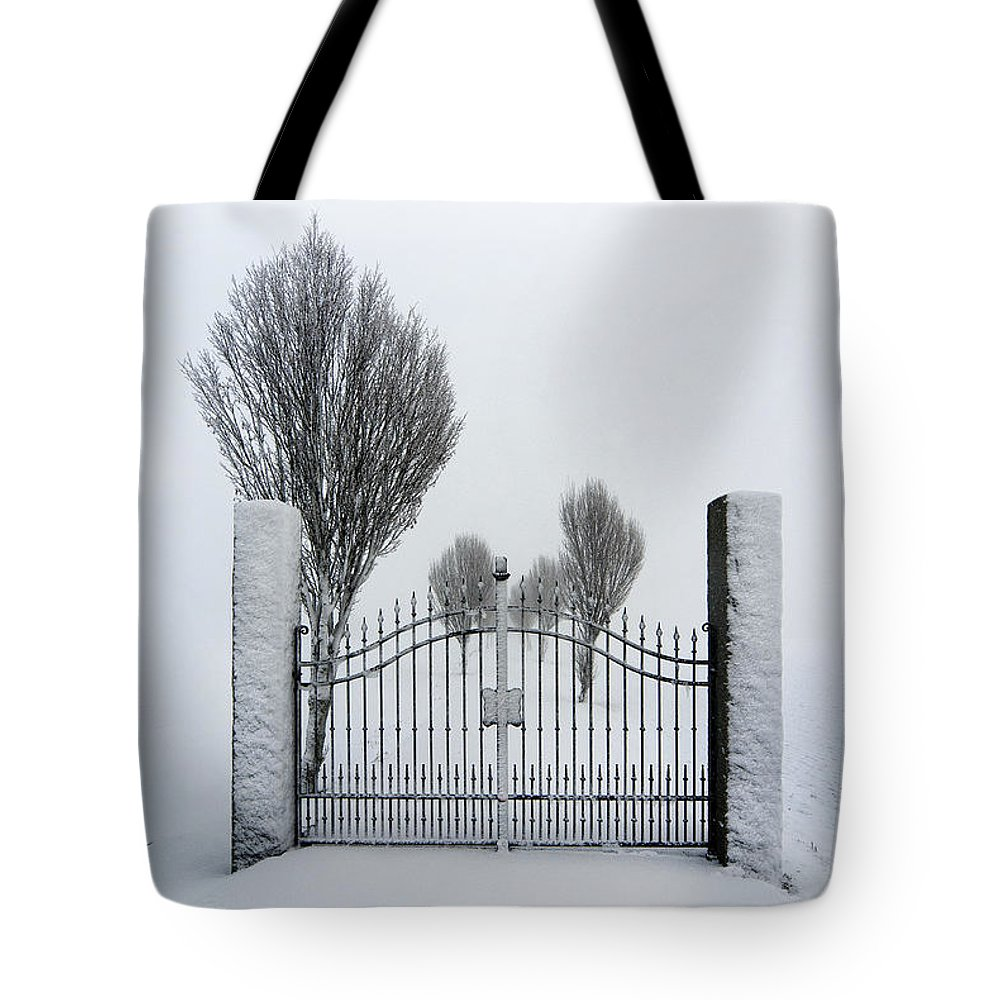 Gate Tote Bag featuring the photograph The Gates To Nowhere by Robert Lacy
