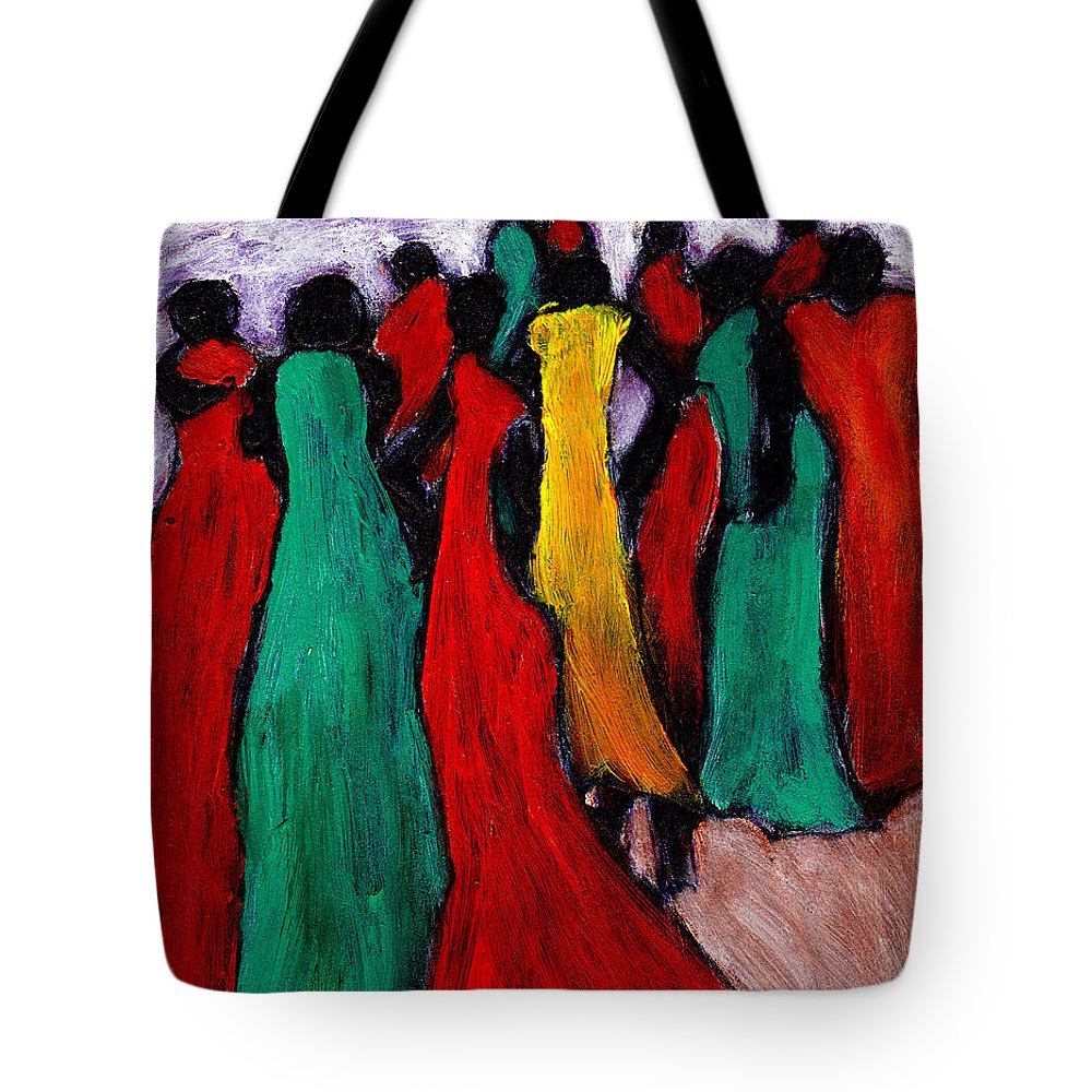 Black Art Tote Bag featuring the painting The Gathering by Wayne Potrafka