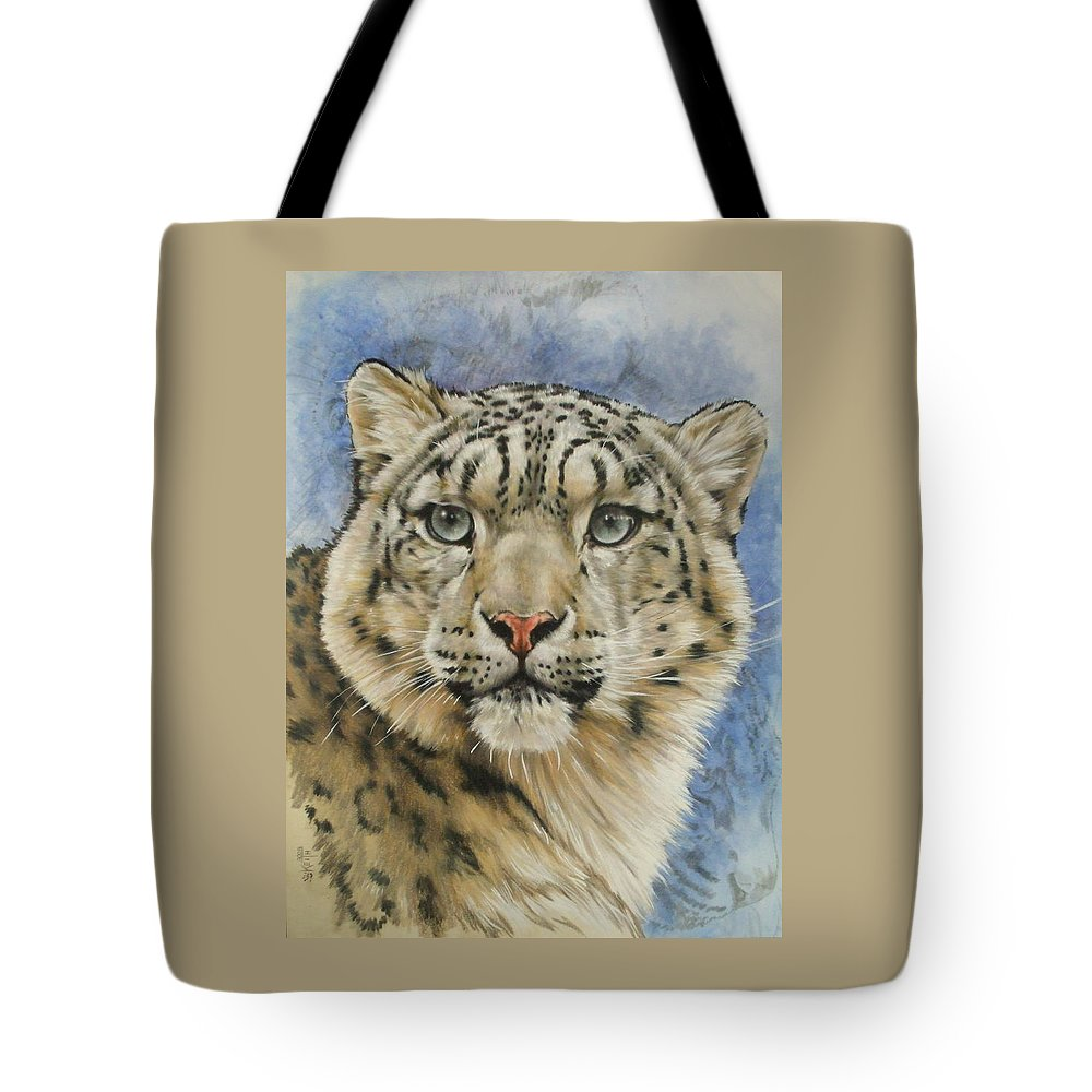 Snow Loepard Tote Bag featuring the mixed media The Gaze by Barbara Keith