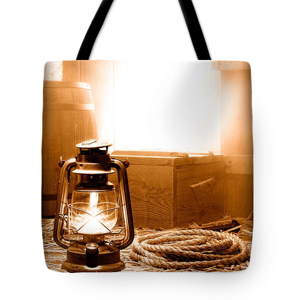 Old Tote Bag featuring the photograph The General Store Backroom - Sepia by Olivier Le Queinec