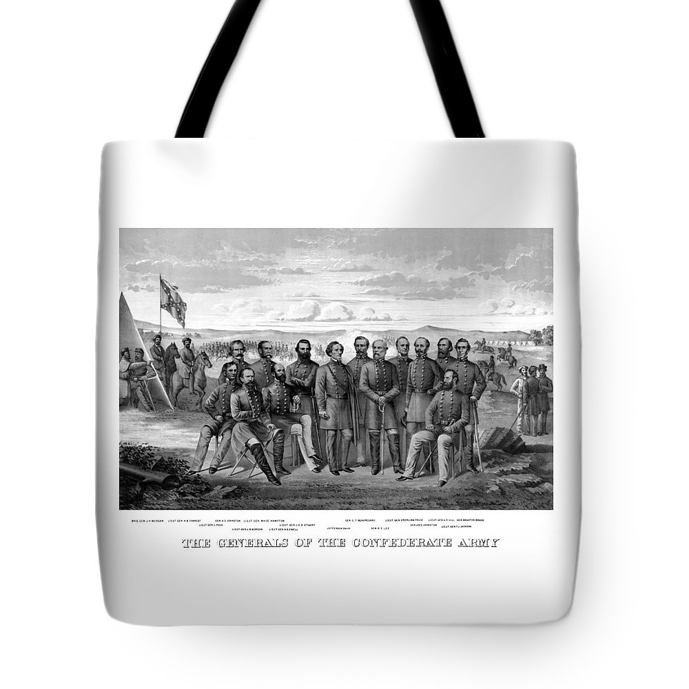 Civil War Tote Bag featuring the mixed media The Generals Of The Confederate Army by War Is Hell Store
