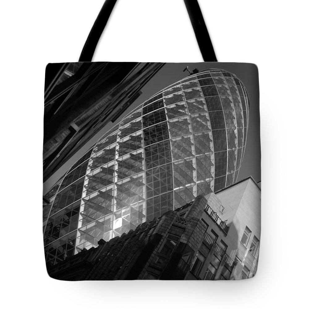 Gherkin Tote Bag featuring the photograph The Gherkin Black And White by Chris Day