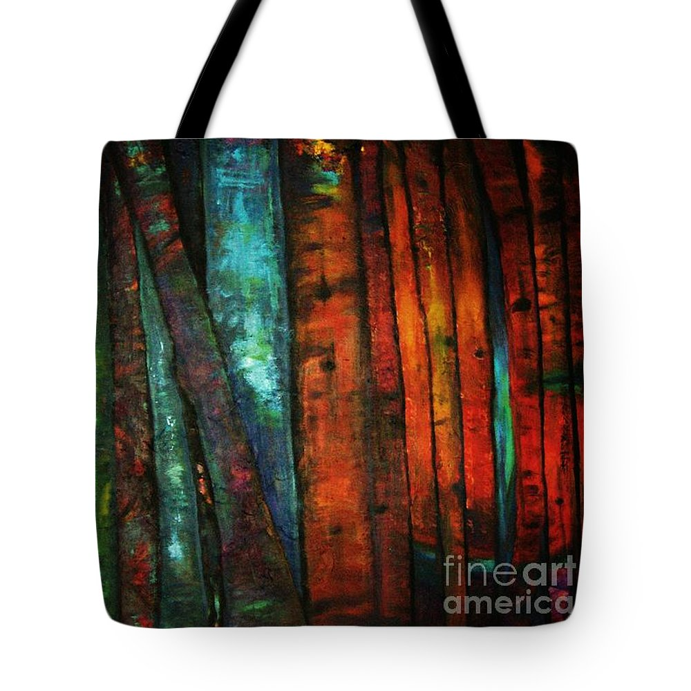 Trees Tote Bag featuring the painting The Giants Two by Sidra Myers