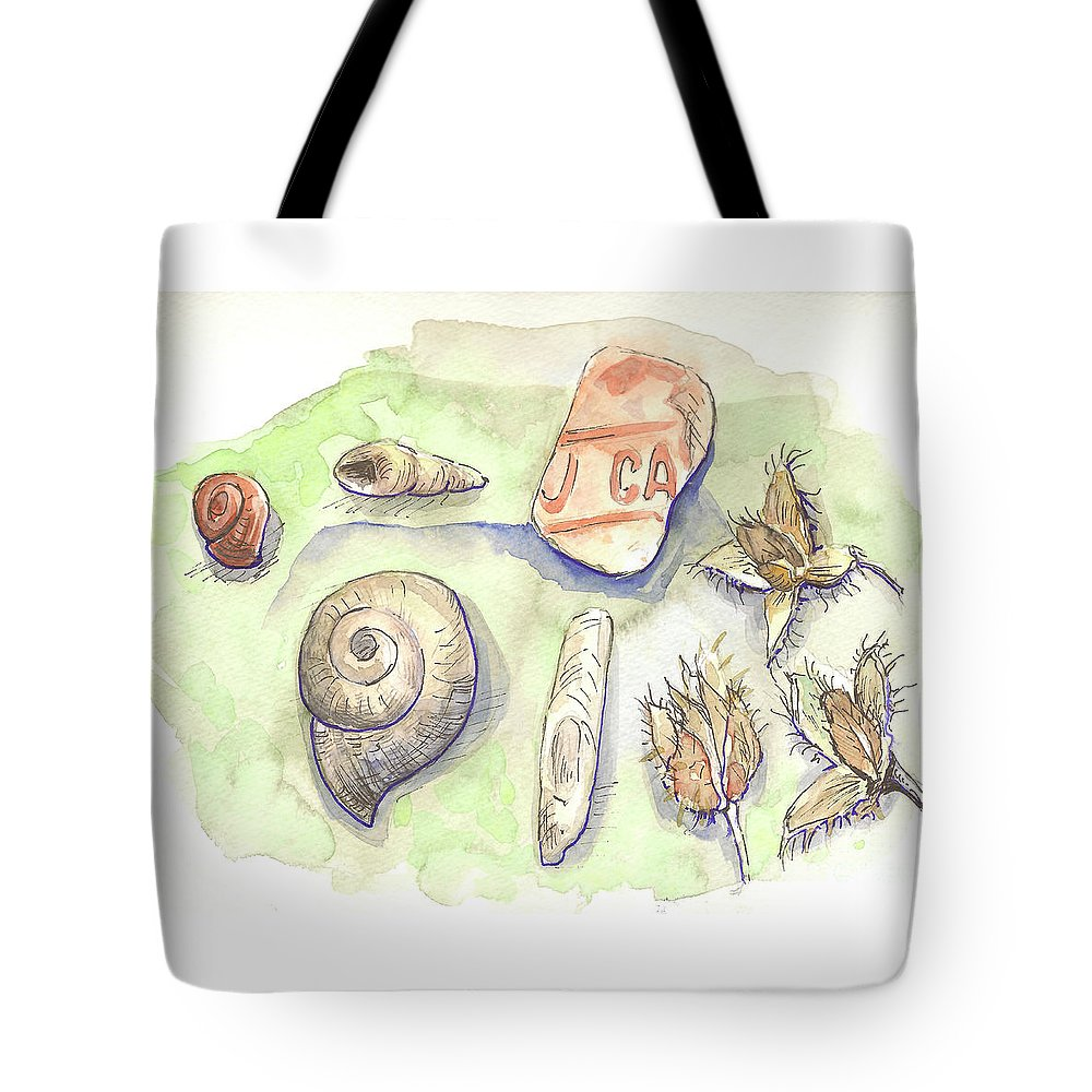 Snail Tote Bag featuring the painting The Gifts Of The Mountain River by Yana Sadykova