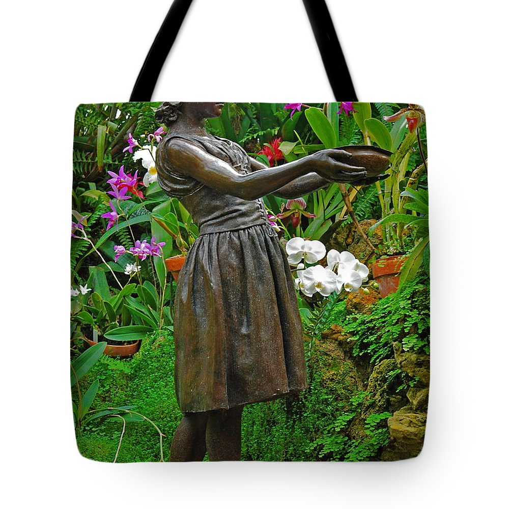 Girl Tote Bag featuring the photograph The Girl Among Orchids by Michael Peychich