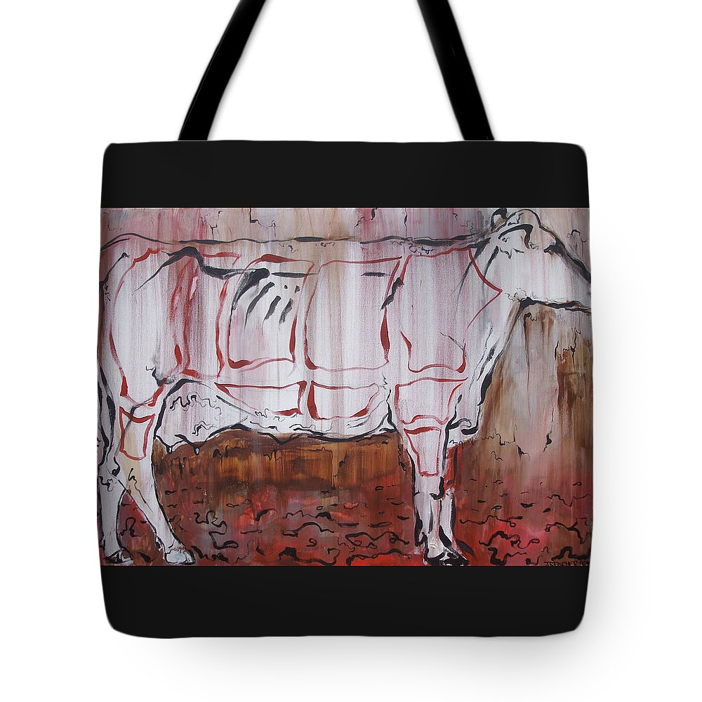 Cow Tote Bag featuring the painting The Giver by Julie Fischer