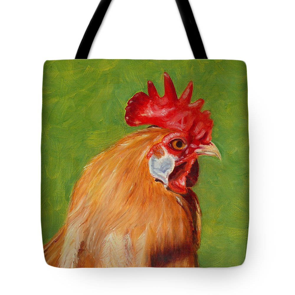 Rooster Tote Bag featuring the painting The Gladiator by Paula Emery
