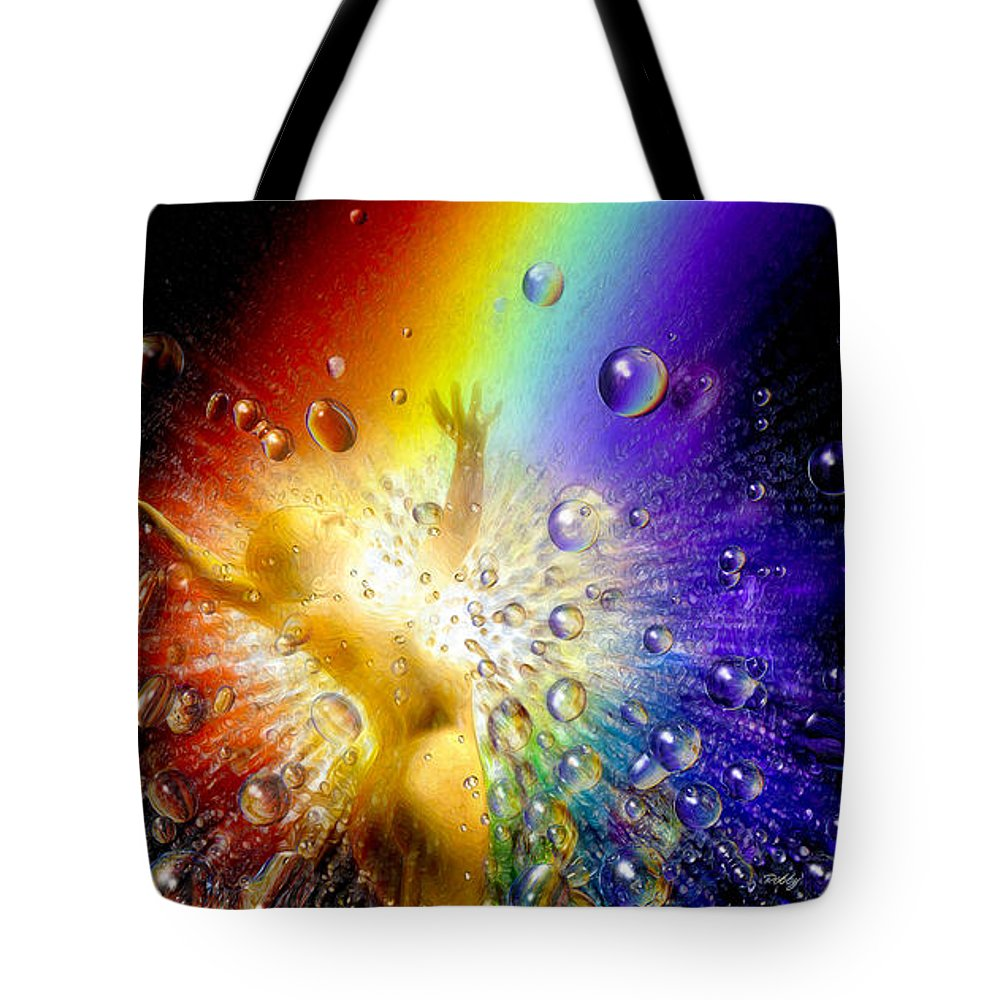 Tote Bag featuring the painting The Gold At The End Of The Rainbow by Robby Donaghey