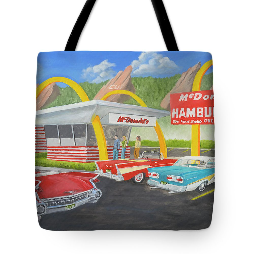 Mcdonalds Tote Bag featuring the painting The Golden Age Of The Golden Arches by Jerry McElroy