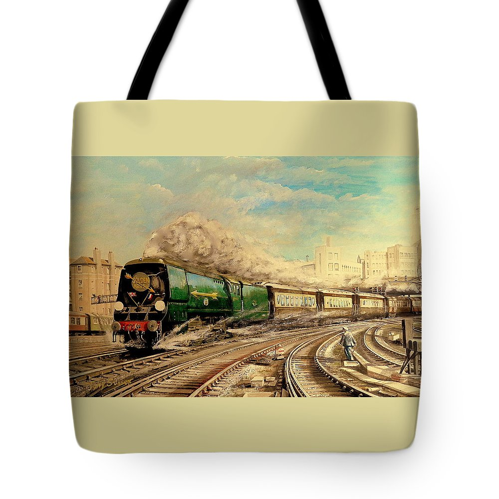The Famous Luxury Pullman Train  Golden Arrow Leaves London Victoria Station. En Route For Paris Tote Bag featuring the painting The Golden Arrow Leaves Victoria by Tony Sussex